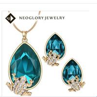 blue Frog High-end Jewellery NJ-692 18K Gold plated Austria Crystal  plain jewelry set  Beauty Paradise RihoodFree shipping