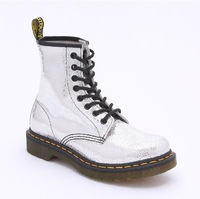 Free Shipping Dr. Original Quality Martins 1460 Silver  Genuine Leather Women Men Shoes Marten  Boots SIZE 35-45