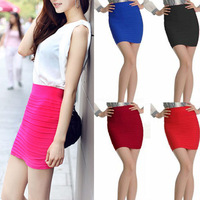 5 Candy Colors Women Mini Skirt Slim Fit Seamless Stretch Tight Fitted YWF-0129