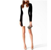 Hot Sale Women New Sexy Party Dress Color Block Slim Fit Long Sleeve Crew Neck Dress Back Invisible Zipper Drop Shipping WF-3687