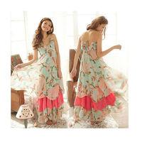 FREE SHIPPING popular Fashion Women Boho Style V-Neck Printing Pattern Spaghetti Strap Dress Asymmetric Beach Harness Maxi Dress