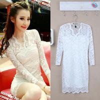 Korean version V-neck slim three quarter sleeve full lace black white one-piece dress SZC-1629
