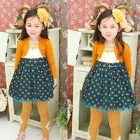 5pcs/lot children fashion autumn dress, knitted coat princess dress for girls. dot ruffles sweep party dresses