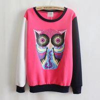 Hot Sale 2014 Women Autumn Owl Printing Fight Color Sweatshirt Cartoon Crewneck Sweater Long Sleeve Plus Velvet Pullover Hoodies