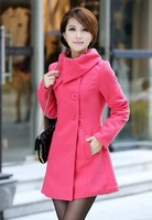 plus size women's big lapel wool coat casacos femininos 2014 autumn winter woollen overcoat trench coat for women 323