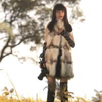 2013 raccoon fur medium-long women's slim outerwear vest