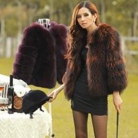 2014 full leather raccoon fur outerwear short design fur women's top