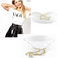 2014 New Women Fashion Transparent Wide Belt with Gold Chain Ceintures Female Waistband Cinturon Cummerbund Cintos Femininos