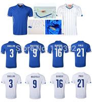BALOTELLIPIRLO BAGGIO MALDINI Top Thai Quality Italy  Blue Jersey 14-15 Italy Soccer Jerseys Azzurri Maglia di calcio Italia