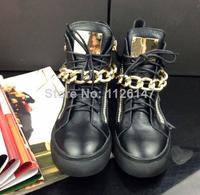 genuine leather Unisex men women sneakers guiseppe brand GZ zanotty sports shoes golden metal chain white women's flats EU 35-48
