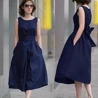 summer dress 2014 pure linen sleeveless belt of the dress plus size dress clearance cotton and linen loose women dress