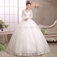 new 2014 bride wedding dress lace v-neck long-sleeve wedding dresses restoring ancient vestido de noiva bridal gown fashion  363