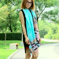 2014 hot hazy building print fashion long soft scarf women beach shawl hijab muslim scarf tribal aztec free shipping