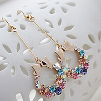 (Shop Clearance 50% OFF) Korean fashion jewelry bow color crystal pendant earrings bijouterie for women