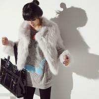 Fox fur jacket tiebelt overcoat outerwear ash fur coat