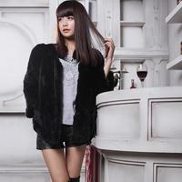 2014 rabbit fur three quarter sleeve fur women's design short outerwear