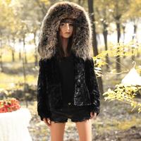 Winter slim raccoon short hooded mink fur coat black