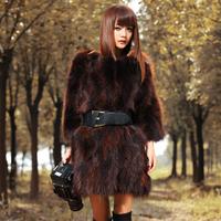 2012 winter raccoon fur three quarter sleeve fur women's medium-long outerwear