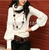 New 2014 Fall Women T-shirt Fashion Slim-type lantern Sleeve Turtleneck Collar long-sleeved T-shirt, Free Shipping Promotion