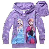 Wholesale New Frozen Anna Elsa Hoody Girl Long Sleeve Zip Coat Kids Jacket Toddler Princess Hoodies Children Outerwear 6pcs/lot