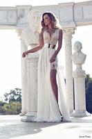 2014 New Deep V-Neck Embroidery Beaded Gold Metal Belt Chiffon Julie Wedding Dresses Designer Special Occasion Dress Multi Color