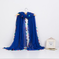 Stripe large cape geometric figure neon tassel big scarf large cape 180*100 cm