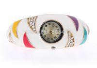 Casting colourful epoxy bangle with watch and rhinestone + fashion bangle + Free shipping!