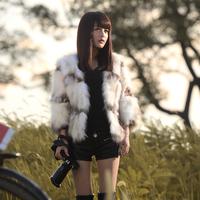 2014 fur coat raccoon fur short design low o-neck women's fur coat