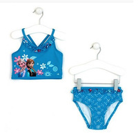 Newest Frozen Ann Elsa Kids Monokini bikini Swimwear Baby Toddler Girl Swimsuit   2-10 UV Protection children fashion  blue
