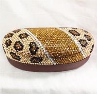45 colors available Free shipping(5pcs/lot) Wholesale Fashion leopard rhinestone sunglasses case