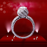 New Arrival 1CT Flower Luxury Ring Star Synthetic Diamond Engagement Ring In Solid Genuine Sterling Silver Ring Set