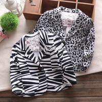 1Pcs Retail!2014 new!children's coat,Children's long sleeve shirt cotton zebra striped girls suit, girl suit jacket,Fashion coat