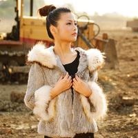 Women's hooded rabbit fur leather coat medium-long