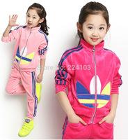 Kids girls spring new models fall suite big boy sport velvet suit baby clothes for children