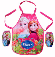 Wholesale(12pcs/lot) Children/kids/girls/boys cartoon FROZEN/spiderman  waterproof apron set/ pinafore set/ pinny and oversleeue
