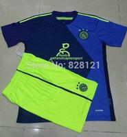 ^-^ New 14-15 Season Ajax Away Blue And Royal Kits Thai Quality Soccer Football Jerseys Man Soccer Football Kits Sport Uniforms