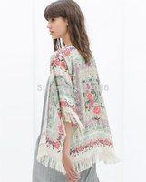 Free shipping size S, M, L ladies brand cardigan loose fit shawl tassels print cardigan KLT14001