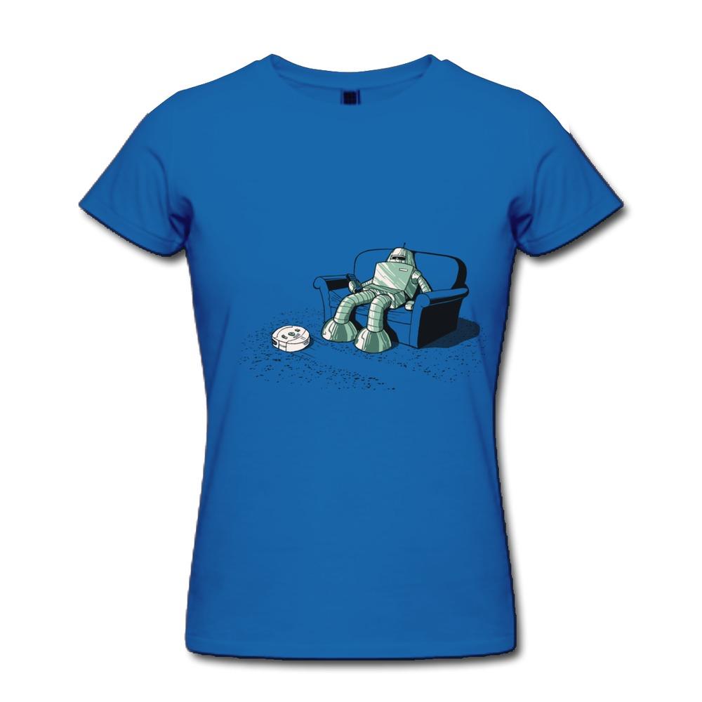 100% Cotton Women T Shirt A Robot Vacuuming Creat Own Music Photo Women T Shirts Top Rated(China (Mainland))