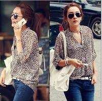 2014 fashion Womens Chiffon Sexy Leopard Print Summer Shirt Top Button Down Blouse/ Free shipping