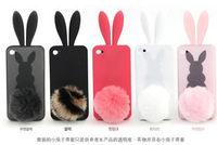 Free shipping 3D cute lovely rabito case rabbit bunny silicone case cover with a tail For Apple iPhone 5 5s
