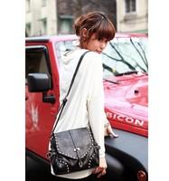 Free shipping 2014 Women Messenger  new retro punk style rivet belt bag small shoulder bag diagonal package