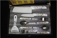 Free Shipping Ultra-Value Three-Piece Knife Sets +Two Ceramic Spoon +Two Ceramic Fork  with Gift Box