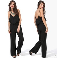 Summer Autumn New 2014 Sexy Chiffon Jumpsuit Women Long Pant Deep V-Neck Spaghetti Straps Ruffles Backless Rompers Overall D490