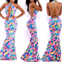 Ladies Printed dress Evening Fitted Formal Party Ladies Pencil Bodycon bandage Dress SJ6030