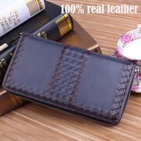 2014 European American Brand Men Leather Wallets 100% Genuine Leather Men Wallets Men Change Cash Zipper Purses