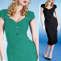 Plus Size S-XXL Free Shipping 2014 Summer New Vintage Fashion Women's Modal OL Elegant Slim Celebrity Elasticity Bodycon Dresses