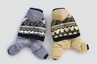 2014 New Improved Christmas Dog Clothes  Pet  Dog Four Legs winter Suit  Doggie Winter Clothing Gray  Apricot