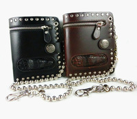 Men Crocodile Head Stud Leather Wallet Rocker Biker Chain Purse Vintage Style Halloween gift