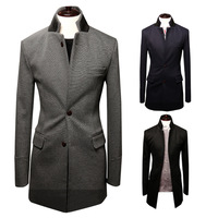 2014 autumn and winter medium-long double collar suit male 1155