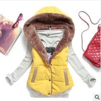 2014 autumn winter plus size slim plus velvet vest thermal down cotton with a hood vest female all-match, free shipping, D0137